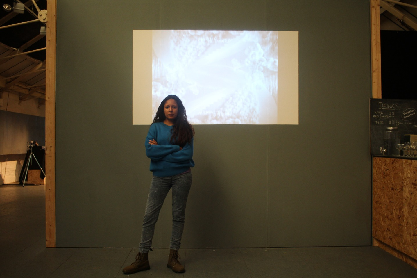 Rebecca Mahay with her video for MIRROR II RORRIM, 'Womensware'.